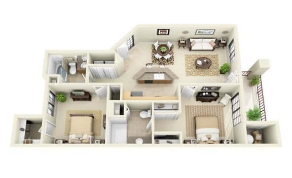 Floor Plan  Sedona | 2 Bedroom 2 Bathroom Floor Plan, opens a dialog.