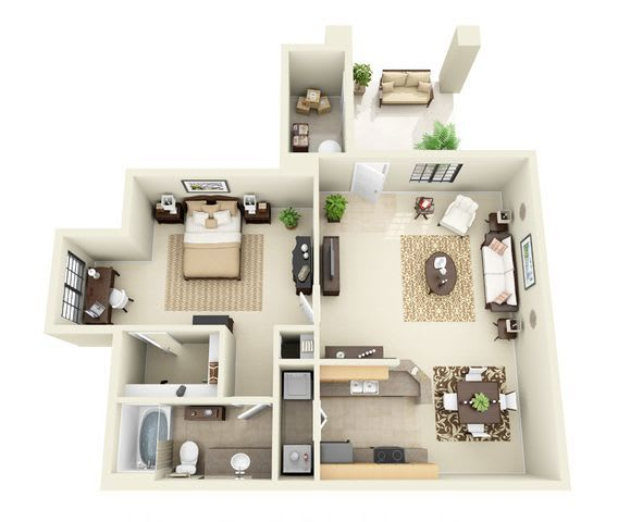 Floor Plan  Esperero | 1 Bedroom 1 Bathroom Floor Plan, opens a dialog.