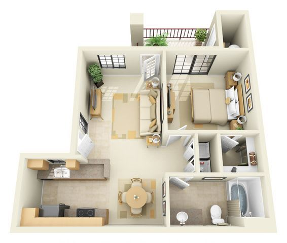 Floor Plan  Kino | 1 Bedroom 1 Bathroom Floor Plan, opens a dialog.