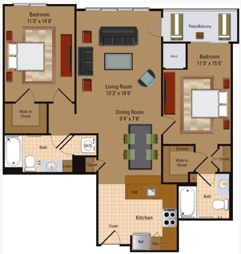 Floor Plan  2 Bedroom, 2 Bath - B1