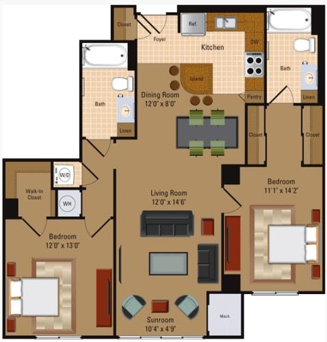 Floor Plan  2 Bedroom, 2 Bath - B2