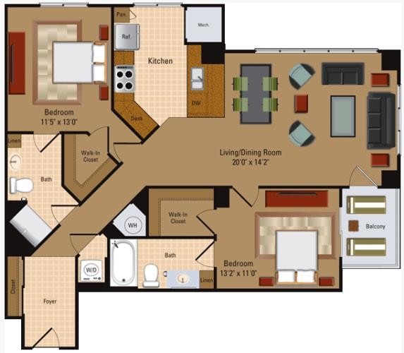 Floor Plan  2 Bedroom, 2 Bath - B3