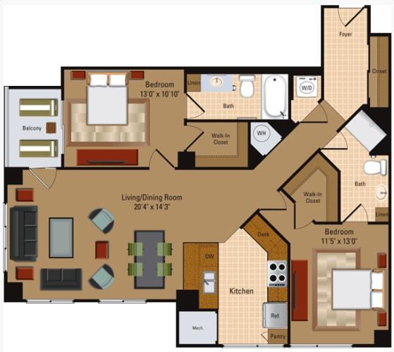 Floor Plan  2 Bedroom, 2 Bath - B4