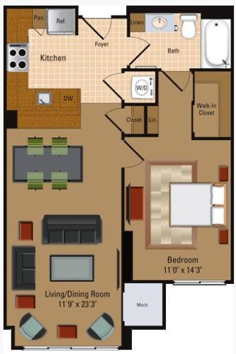 Floor Plan  1 Bedroom, 1 Bath - A2