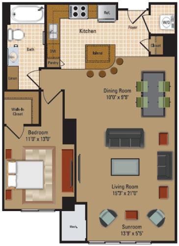 Floor Plan  1 Bedroom, 1 Bath - A3