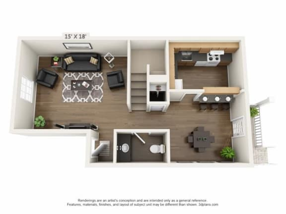 Floor Plan  2 Bed 1.5 Bath