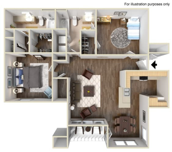 Floor Plan  The Yosemite Floor Plan at Manzanita Gate Apartment Homes, Reno, NV