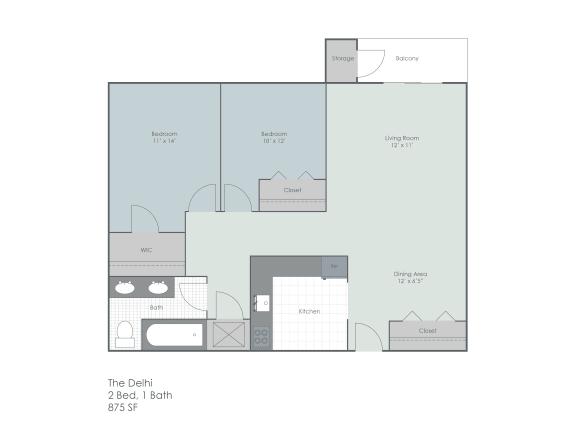 Floor Plan  Two bedroom floorplan layout, opens a dialog.