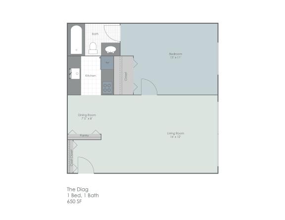 Floor Plan  One bedroom floorplan layout, opens a dialog.