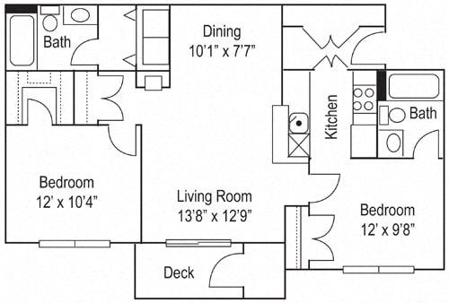 Floor Plan  Riverwoods Apartments The Avon Floor Plan 2 Bedroom, 2 Bathroom