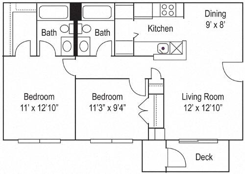 Floor Plan  Riverwoods Apartments The James Floor Plan 2 Bedroom, 2 Bathroom