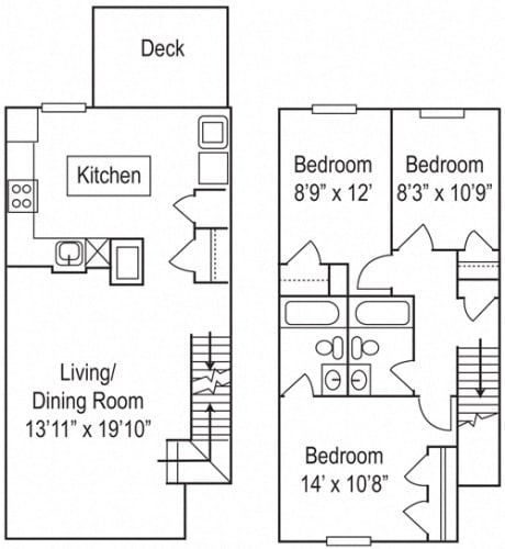 Floor Plan  Riverwoods at Towne Square The River Oak- 3 Bedroom, 2 Bathroom Townhome