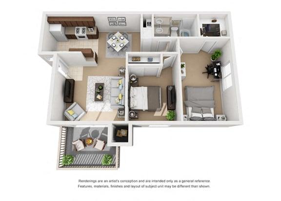 Floor Plan  Plan 3 2 Bedroom 1 Bathroom 3D Floor Plan at Knollwood Meadows Apartments, California