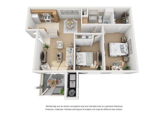Floor Plan  Plan 4 2 Bedroom 1 Bathroom 3D Floor Plan at Knollwood Meadows Apartments, California, 93455