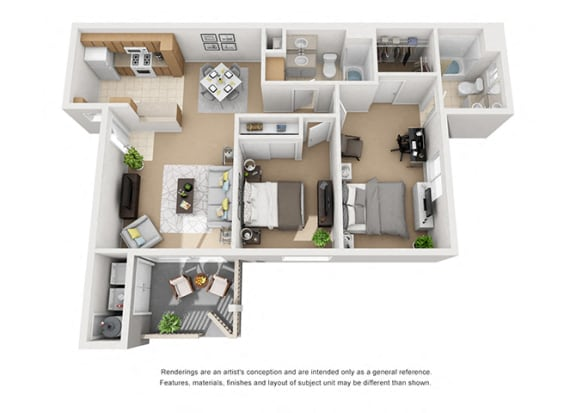 Floor Plan  Plan 5 2 Bedroom 2 Bathroom 3D Floor Plan at Knollwood Meadows Apartments, Santa Maria, CA, 93455