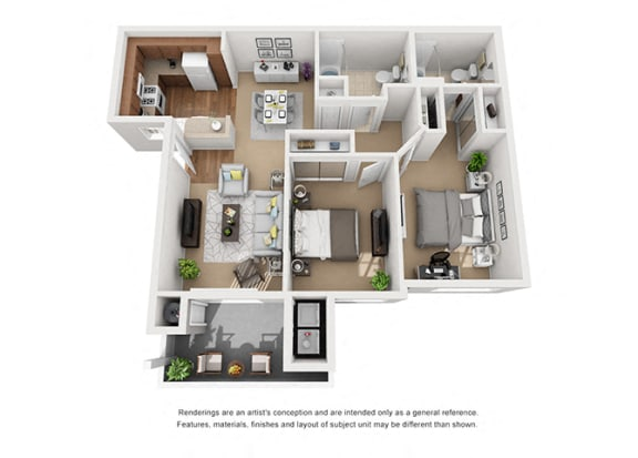 Floor Plan  2 bed 2 bath Plan 4 floorplan at Sumida Gardens Apartments, Santa Barbara, CA