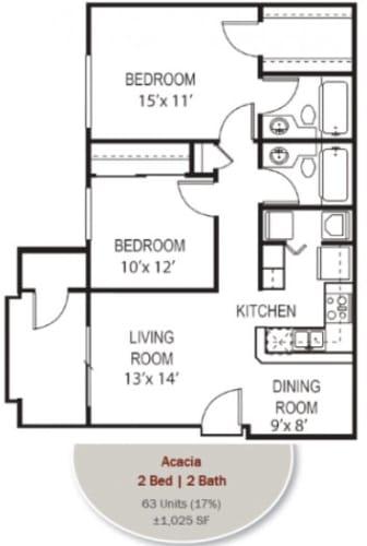 Floor Plan  Acacia Floorplan at Garden Grove Apartments, Tempe, AZ, 85283