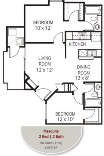 Floor Plan  Mesquite Floorplan at Garden Grove Apartments, Tempe, AZ, 85283