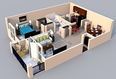 Floor Plan  Centerville Manor Apartments Virginia Beach, VA 23464 3-D Floor Plan 1 bedroom 1 bath