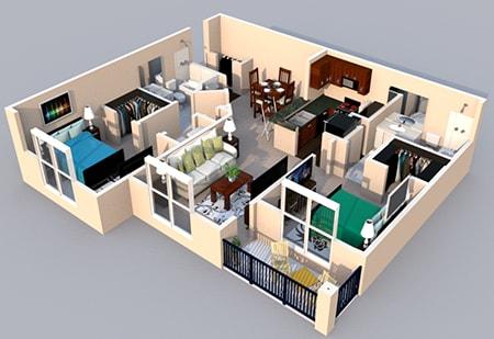 Floor Plan  Centerville Manor Apartments Virginia Beach, VA 23464 3-D Floor Plan 2 bedroom 2 bath