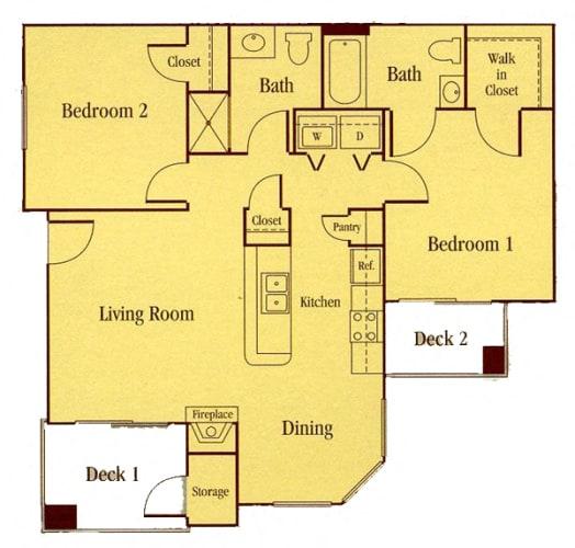 Floor Plan  2 Bedroom Floor Plan Elk Grove Apartments l Castellino at Lauga West Apartments