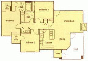 Floor Plan  Three Bedroom Floor Plan Elk Grove Apartments l Castellino at Lauga West Apartments
