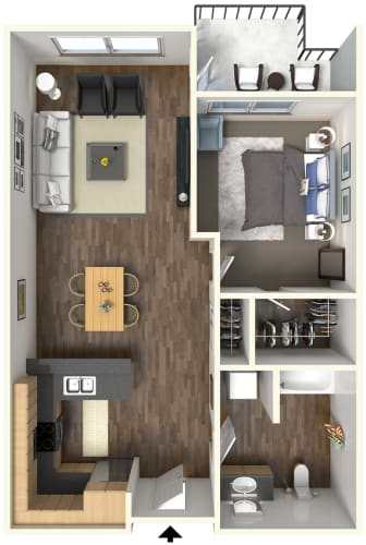 Floor Plan  705 square feet floor plan l Fremont Mews Apartments in Sacramento CA