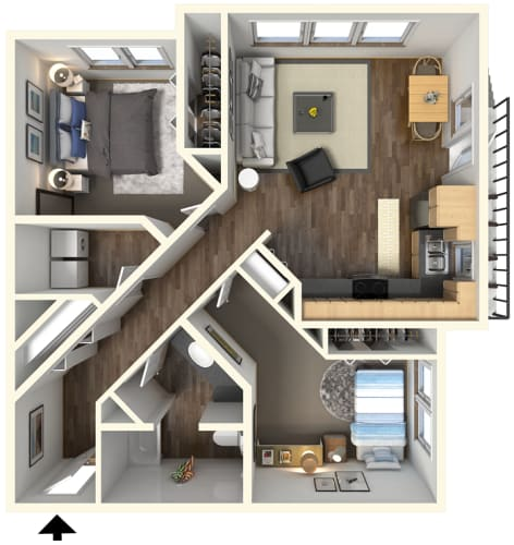 Floor Plan  2 bedroom 1 bath l Fremont Mews Apartments in Sacramento CA