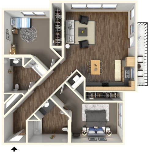 Floor Plan  2 bedroom 2 bath l Fremont Mews Apartments in Sacramento CA