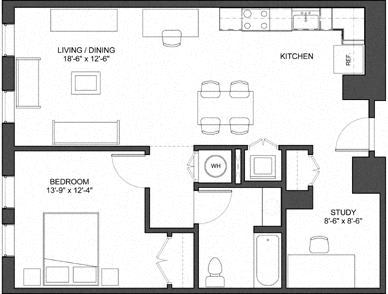 Floor Plan  1 Bedroom with Study