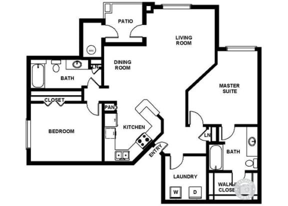 Floor Plan  Two Bedroom Two Bathroom