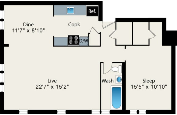 Floor Plan  One Bed One Bath FloorPlan at Reside on Surf Apartments, Chicago, IL