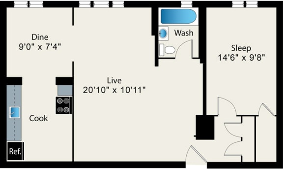 Floor Plan  One Bed One Bath FloorPlan at Reside on Surf Apartments, 425 W Surf St, 60657-6450