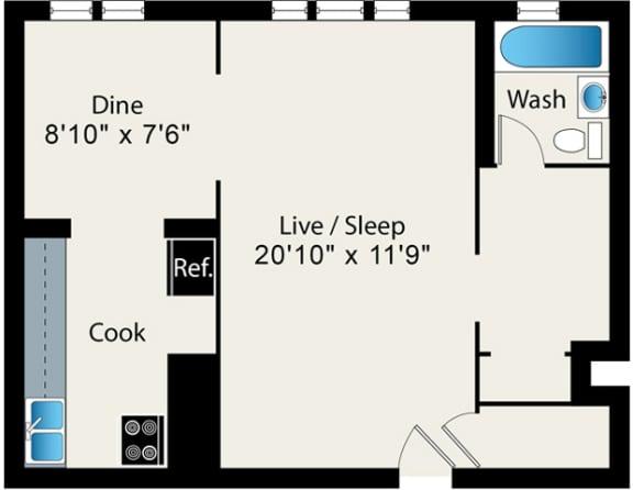 Floor Plan  Studio FloorPlan at Reside on Surf Apartments, Chicago, 60657-6450