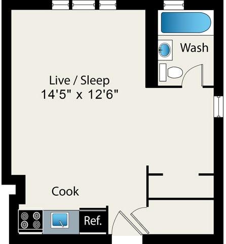 Floor Plan  Studio FloorPlan at Reside on Surf Apartments, 60657-6450, IL