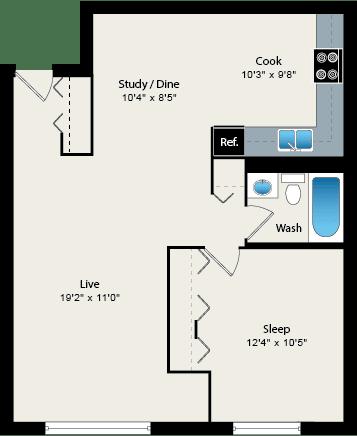 Floor Plan  1 Bed 1 Bath Floorplan at Reside 707 Apartments, Chicago, 60613-3223