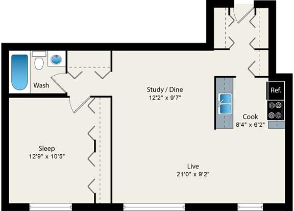 Floor Plan  1 Bed 1 Bath Floorplan at Reside 707 Apartments, Chicago, IL