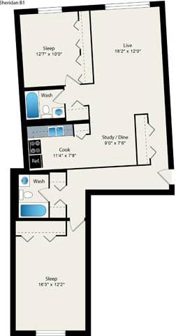 Floor Plan  2 Bed 2 Bath Floorplan at Reside 707 Apartments, Chicago, IL