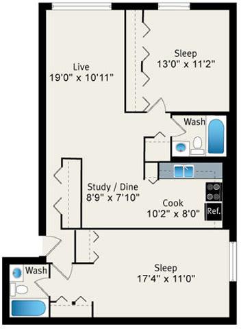 Floor Plan  2 Bed 2 Bath Floorplan at Reside 707 Apartments, 707 W Sheridan Rd, Chicago