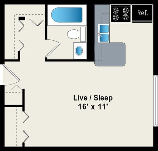 Floor Plan  Studio Floor plan at reside 707