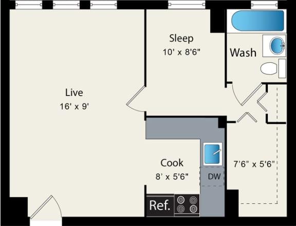 Floor Plan  One Bedroom Floorplan Reside on Clarendon