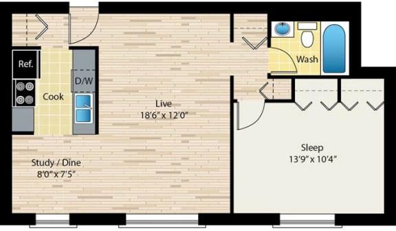 Floor Plan  One-bedroom floor plan at reside on morse