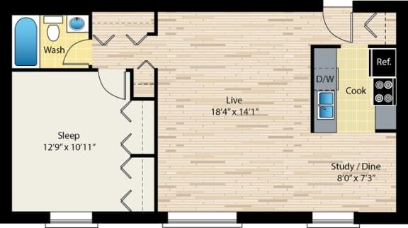 Floor Plan  One bedroom floor plan at reside on morse