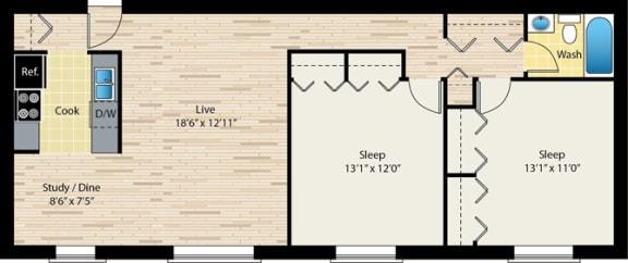 Floor Plan  two-bedroom floor plan at reside on morse