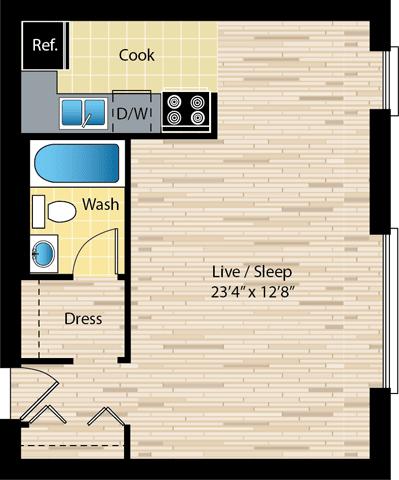 Floor Plan  studio floor plan at reside on morse