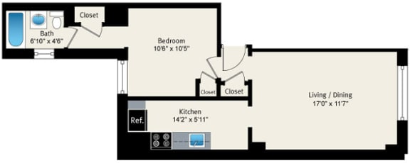 Floor Plan  1 bedroom floor plan at Reside at Belmont Harbor, opens a dialog.