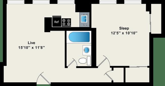 Floor Plan  One Bedroom Floor Plan at Reside on Wellington