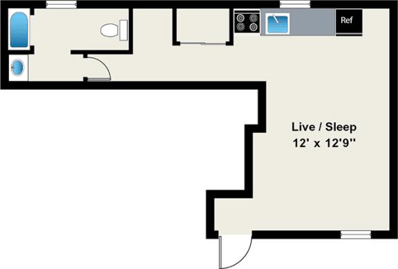 Floor Plan  Studio Floor Plan at Reside on Wellington