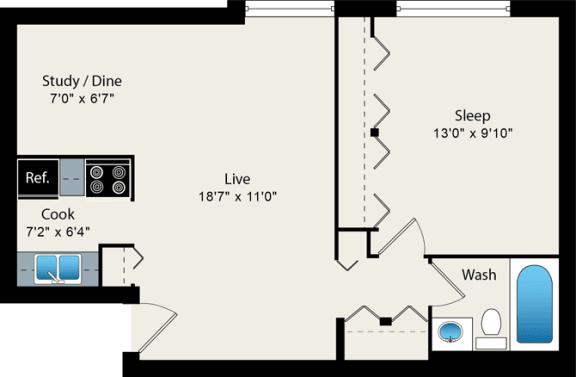 Floor Plan  1 bedroom floor plan at Reside on Roscoe