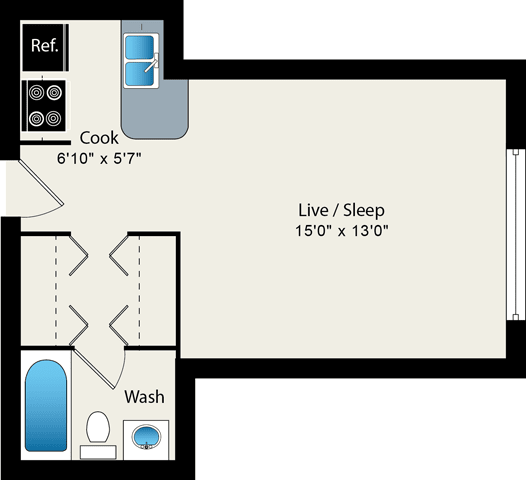 Floor Plan  Studio floor plan at Reside on Roscoe